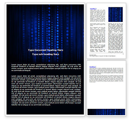 Technology, Science & Computers: Blue Binary Code Word Template #06362