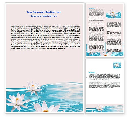 Water Lilies Word Template, 06371, Nature & Environment — PoweredTemplate.com