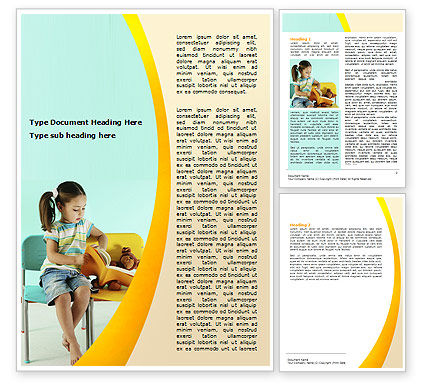Education & Training: Girl Studying Word Template #06376