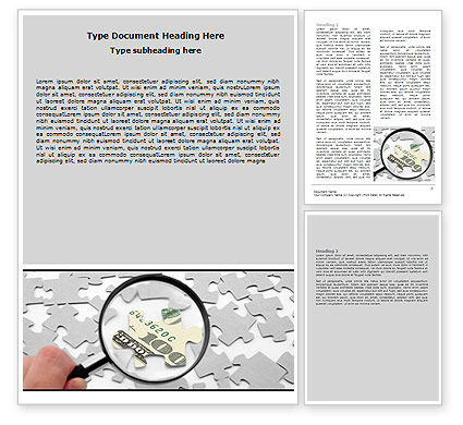 Dollar Puzzle Word Template, 06417, Financial/Accounting — PoweredTemplate.com