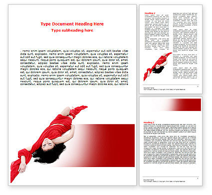 People: Red Dress Fashion Girl Word Template #06425