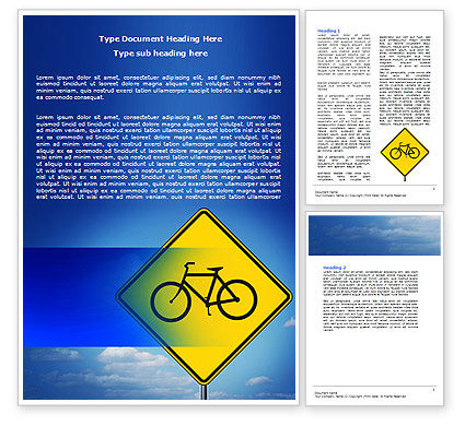 Yellow Bicycle Road Word Template, 06426, Cars/Transportation — PoweredTemplate.com