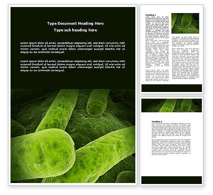Bacilli In Green Color Word Template, 06436, Medical — PoweredTemplate.com