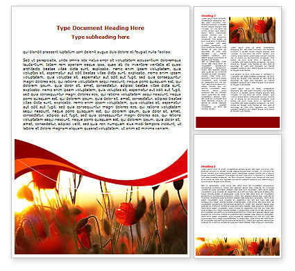 Nature & Environment: Poppies Word Template #06440