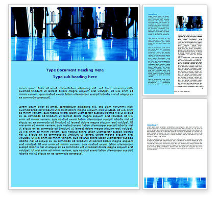 Walking People Word Template, 06444, Business — PoweredTemplate.com