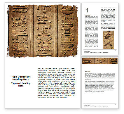 Education & Training: Egyptian Petroglyphs Word Template #06448