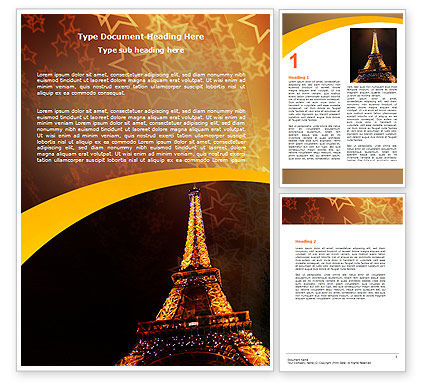 Holiday Eiffel Tower Word Template, 06450, Flags/International — PoweredTemplate.com