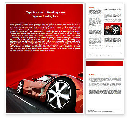 Cars/Transportation: Red Supercar Word Template #06454