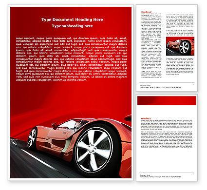 Red Supercar Word Template, 06454, Cars/Transportation — PoweredTemplate.com