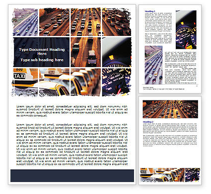 Cars/Transportation: City Traffic Word Template #06476