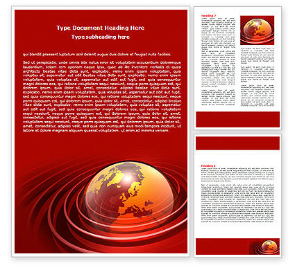 Red Globe Word Template, 06477, Global — PoweredTemplate.com