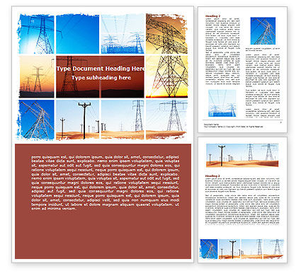 Transmission Lines Word Template, 06482, Utilities/Industrial — PoweredTemplate.com