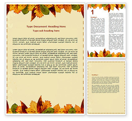 Autumn leaves in light brown palette word template 06487 for Free thanksgiving templates for word