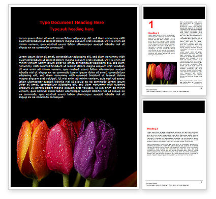 Holiday/Special Occasion: Templat Word Tulip Berwarna #06496