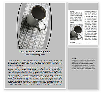 Financial/Accounting: Morning Coffee Cup Word Template #06498