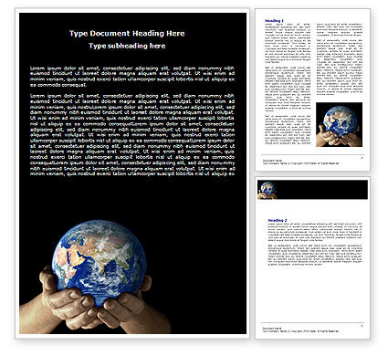 Global: Globe In Children's Hands Word Template #06521