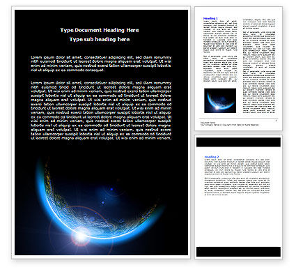 Blue Sunset in Space Word Template, 06527, Technology, Science & Computers — PoweredTemplate.com
