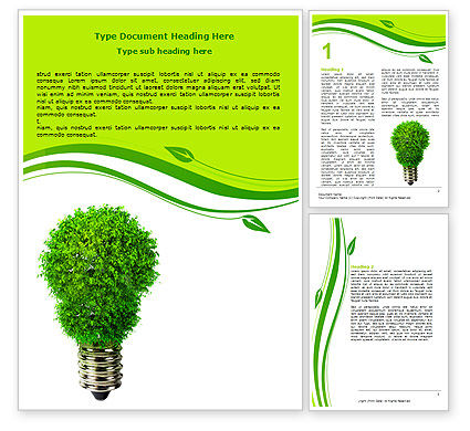 Technology, Science & Computers: Green Eco Lamp Word Template #06530