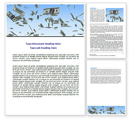 Flying Dollars Word Template, 06537, Financial/Accounting — PoweredTemplate.com
