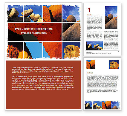 Nature & Environment: Yellow Rocks Word Template #06542