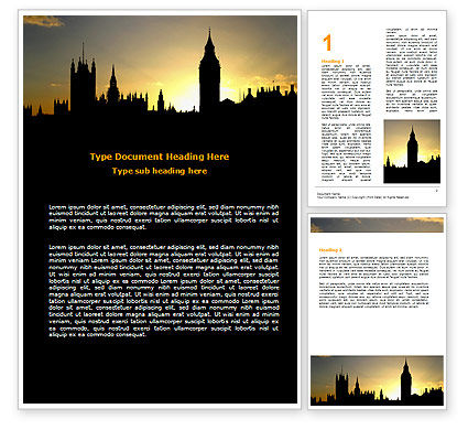 Free Big Ben and House of Parliament Word Template, 06552, Construction — PoweredTemplate.com