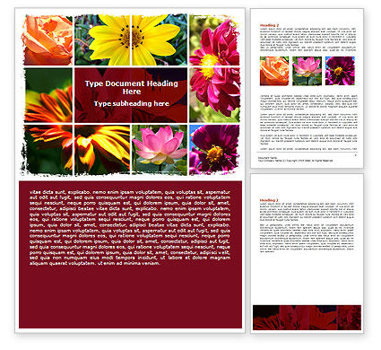 Agriculture and Animals: Garden Flowers Word Template #06562
