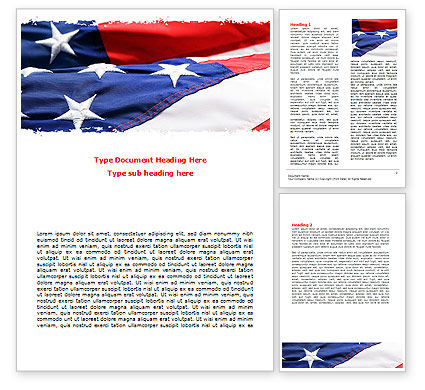 Proudly Soaring American Flag Word Template 06563