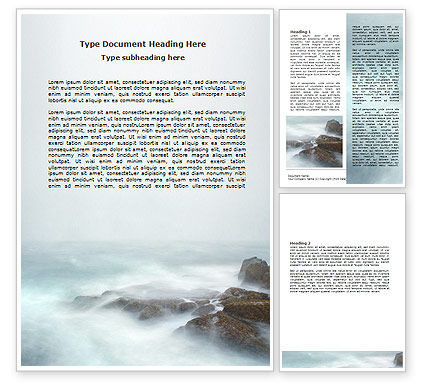 Nature & Environment: Misty Shore Word Template #06564