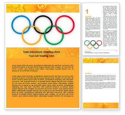 Olympic Games Rings Word Template, 06569, Sports — PoweredTemplate.com