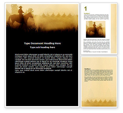 Cowboy Rider Word Template, 06571, America — PoweredTemplate.com