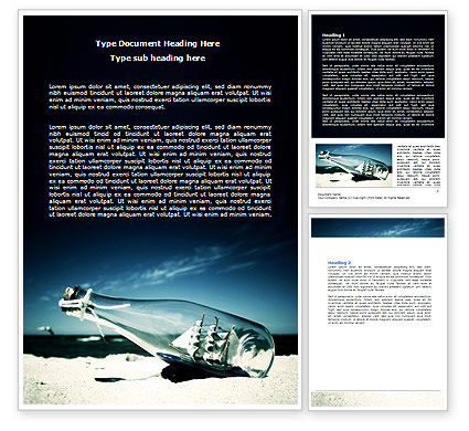 Ship In The Bottle Word Template, 06581, Cars/Transportation — PoweredTemplate.com