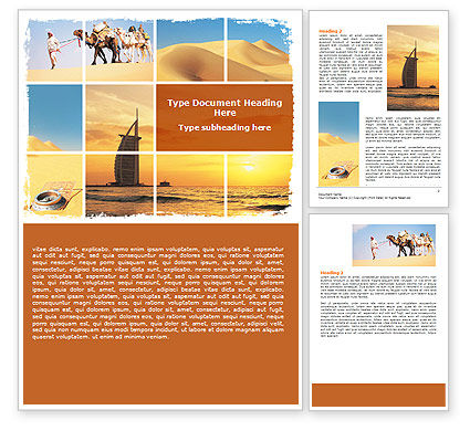 Arab Emirates Word Template, 06583, Nature & Environment — PoweredTemplate.com
