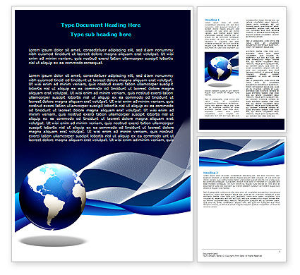 Midnight Blue Globe Word Template