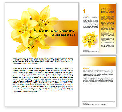 Yellow Lilies Word Template, 06598, Holiday/Special Occasion — PoweredTemplate.com