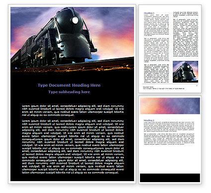 Steam Locomotive Word Template, 06610, Cars/Transportation — PoweredTemplate.com