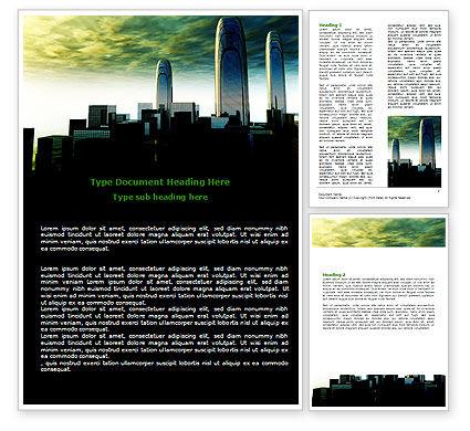 Construction: 未来派城市景观Word模板 #06613