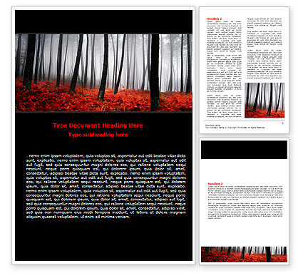 Nature & Environment: Red Fall Word Template #06615