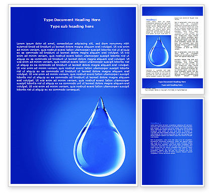 Drop Of Water Word Template, 06638, Nature & Environment — PoweredTemplate.com