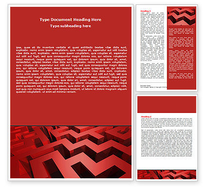 3D: Red Maze Word Template #06643