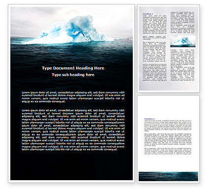 Blue Iceberg Word Template, 06647, Nature & Environment — PoweredTemplate.com