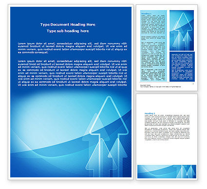 Business: Neon Blue Arrow Word Template #06652