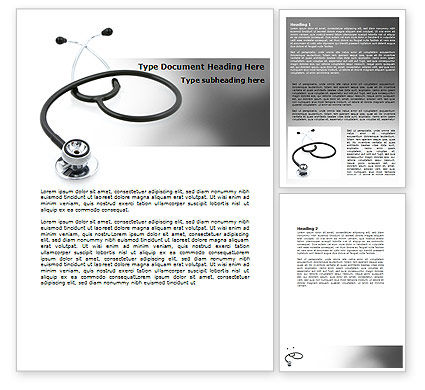 Phonendoscope In A Gray Color Word Template, 06653, Medical — PoweredTemplate.com