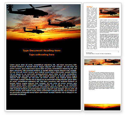 Apache Helicopter AH-64 Word Template, 06658, Military — PoweredTemplate.com