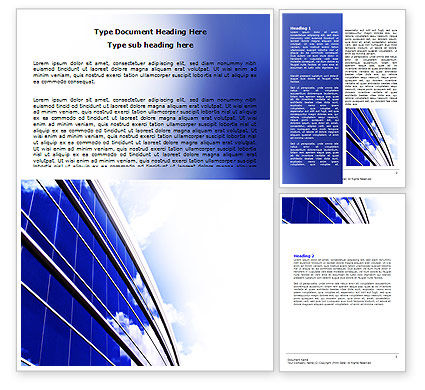 Blue Glass Skyscraper Word Template, 06662, Construction — PoweredTemplate.com
