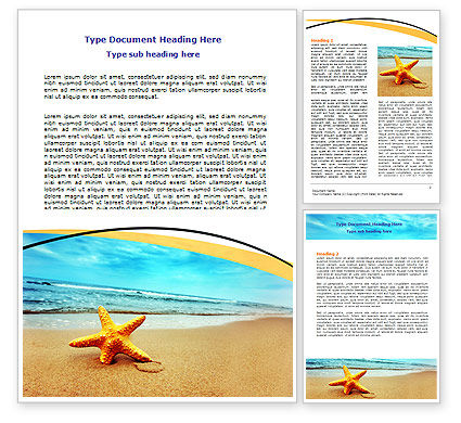 Nature & Environment: Starfish On The Beach Word Template #06668