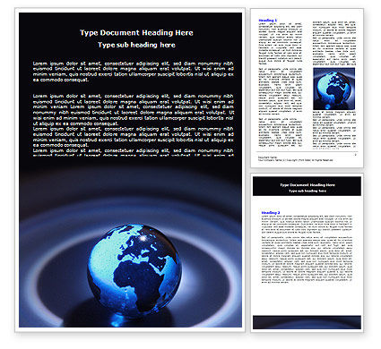 Global: Blue World Globe Word Template #06669