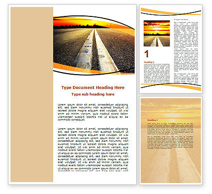 Road To Sunset City Word Template, 06674, Cars/Transportation — PoweredTemplate.com