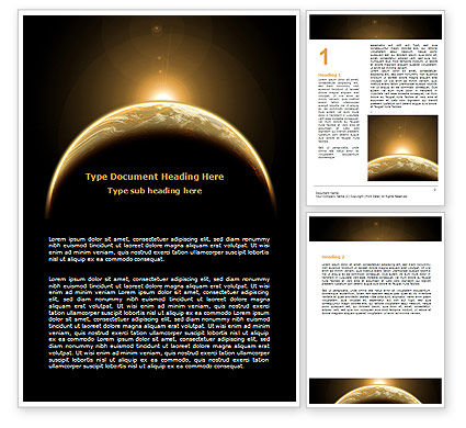 Education & Training: Sepia Sunrise in Space Word Template #06682