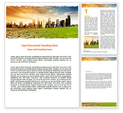 Bad Ecology City Word Template, 06687, Nature & Environment — PoweredTemplate.com