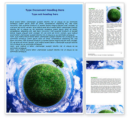 Green Planet In the Space Word Template, 06693, Nature & Environment — PoweredTemplate.com